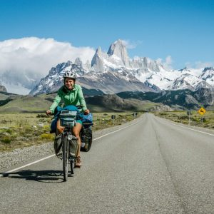Cycling with beautiful views on Fitz Roy