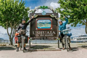 Pose in front of the Fin del Mundo sign in Ushuaia