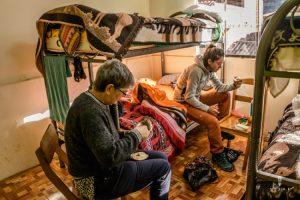 travellers in hospedaje in Peru
