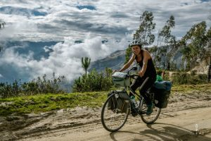 cycling on a dirt road in Peru