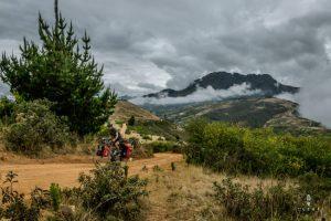 climbing on a steep dirt road in Peru
