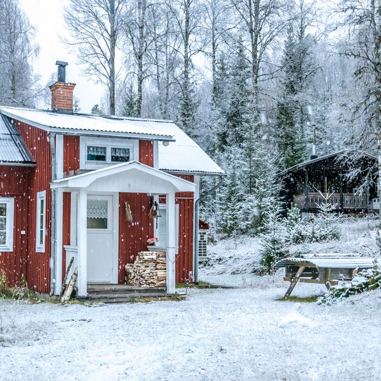 traditional swedish house in winter