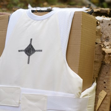 The front of the vest was used to test the 9mm 124 grain +P Speer Gold Dot Hollow Points.