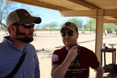 Tyler from TTAG and Jason from Modern Arms using our patches as beard combs. Assholes.