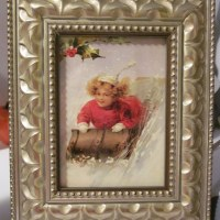 Antique Framed Vintage Christmas Cards-Inexpensive Christmas Gift Idea & Holiday Home Decor
