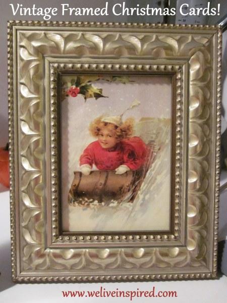 Vintage Christmas Cards Framed