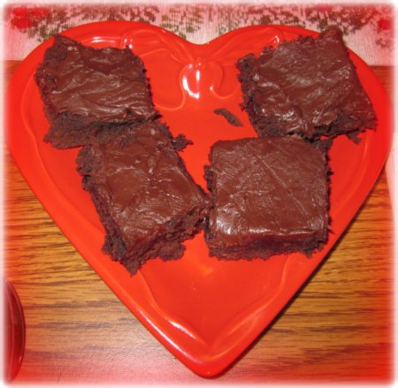 brownies on a heart shaped plate