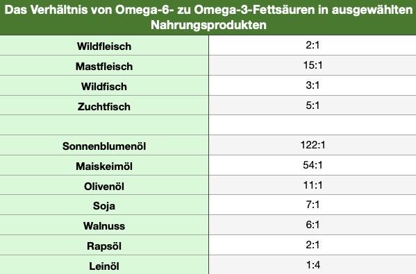 Verhältnis von Omega-6 zu Omega-3-Fettsäuren in ausgewählten Nahrungsprodukten