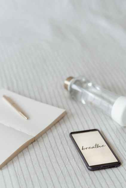 smartphone with title near bottle and diary on bed