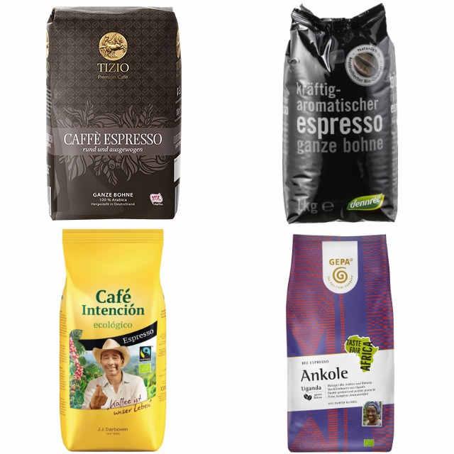(sehr) gut im Test von Stiftung Warentest 12/2016 und Öko-Test 10/2019: Espressobohnen