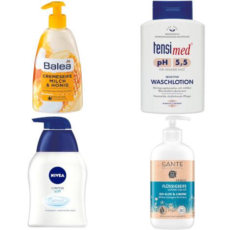 (sehr) gut im Test: Flüssigseife (Cremeseife, Handseife) und seifenfreie Waschlotion