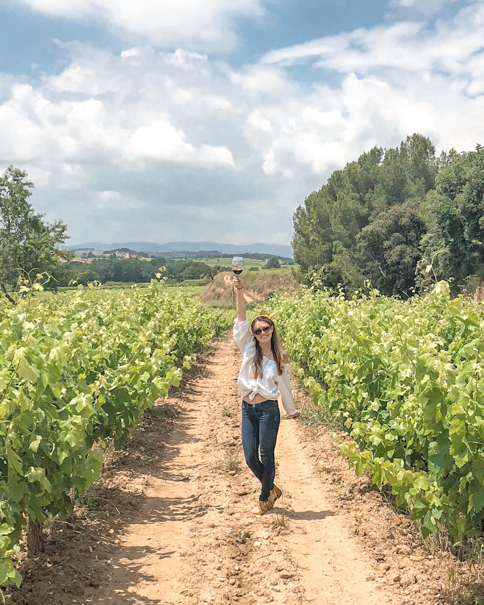 Woman Excited for Wine Tasting