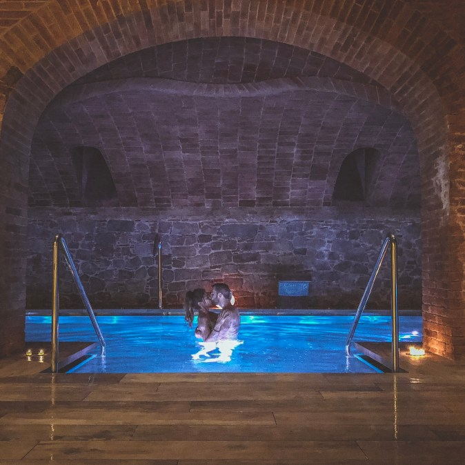 Couple Embraces in Turkish Bath