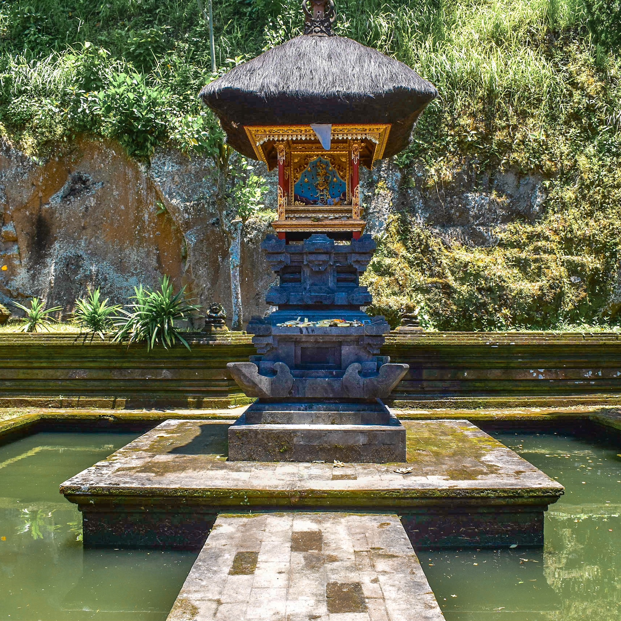 Temple Surrounded by Water near Elephant Cave in Bali