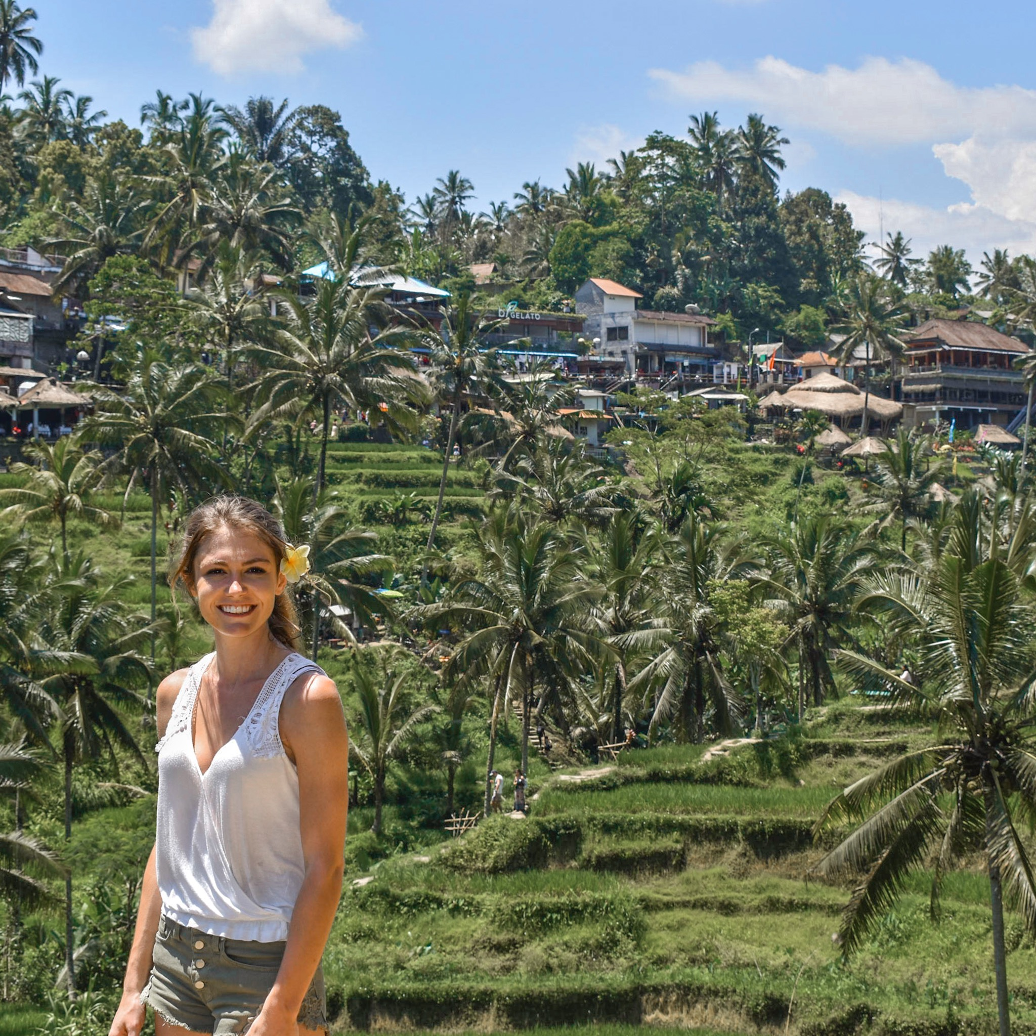Woman Enjoys Rice Terraces in Ubud