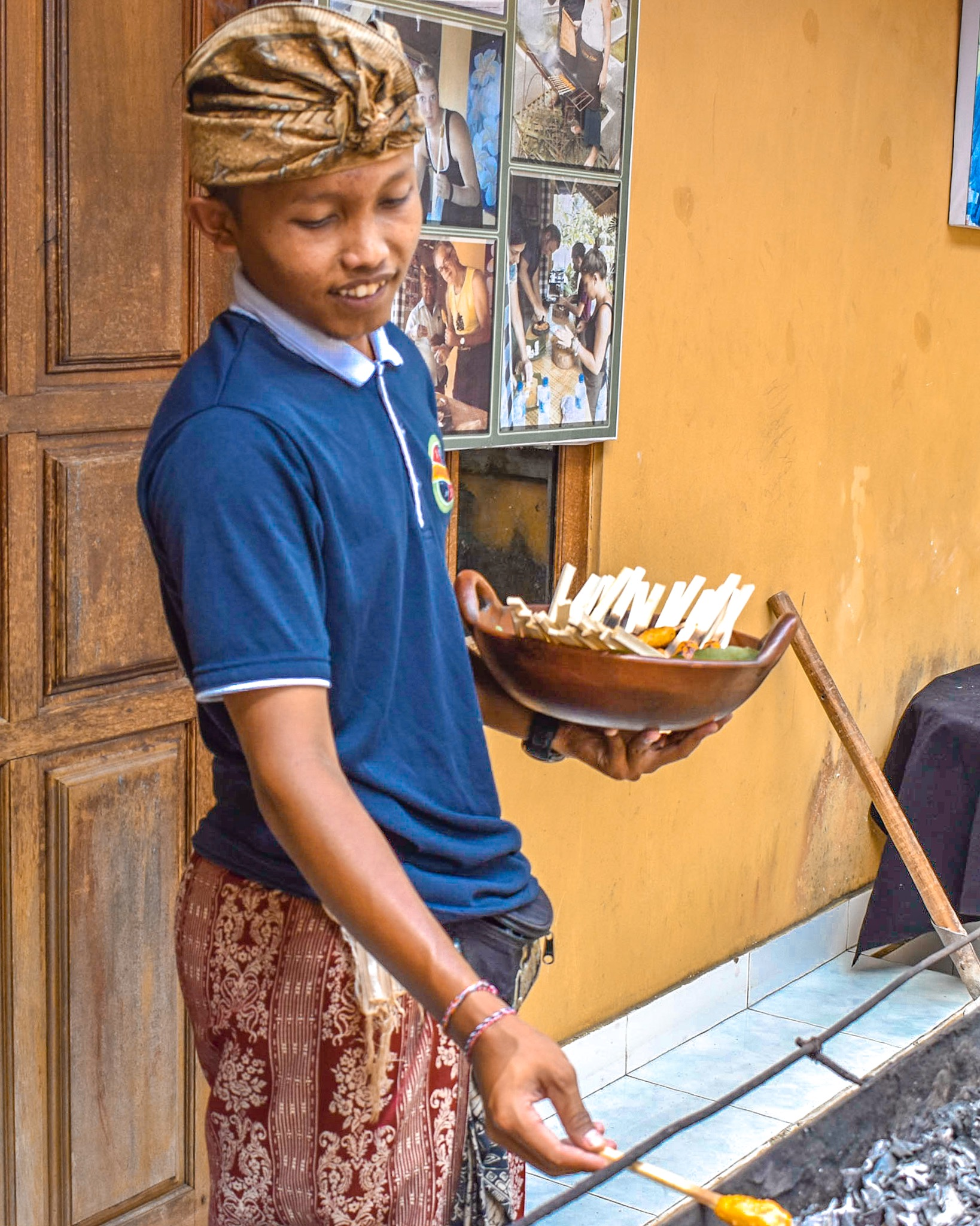 12-Year Old Assists with Cooking Sate Lalit in Bali