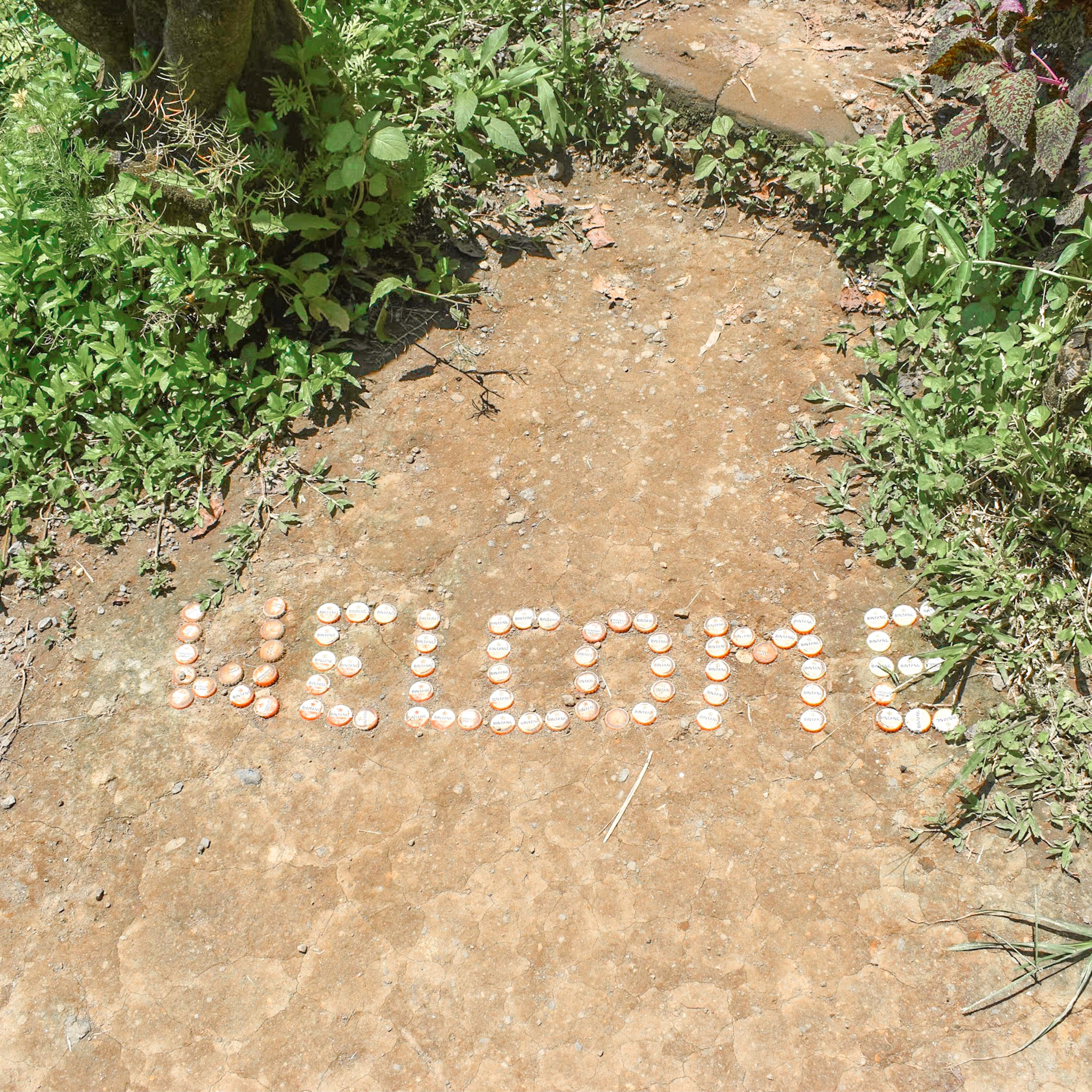 Bottle Cap Welcome Sign at the Rice Terraces in Ubud