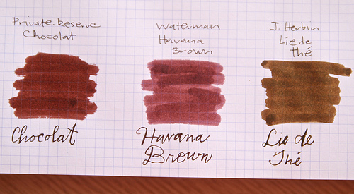 Brown ink samples.