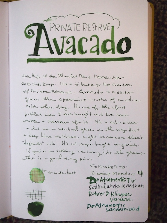Private Reserve Avocado writing sample