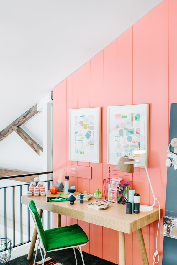 Peach workspace wall