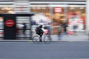 biking wearing mask