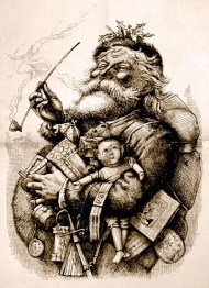 Thomas Nast's most famous drawing, Merry Old Santa Claus from the first 1881 edition of Harper's Weekly, immortalised the modern Santa Claus image.