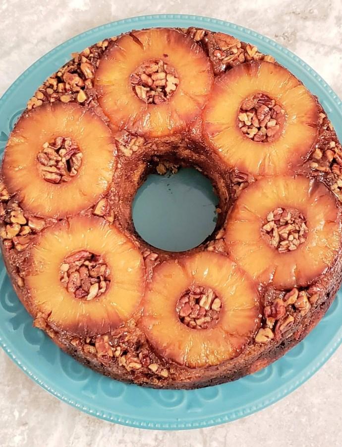 UPSIDE-DOWN PINEAPPLE RUM CAKE
