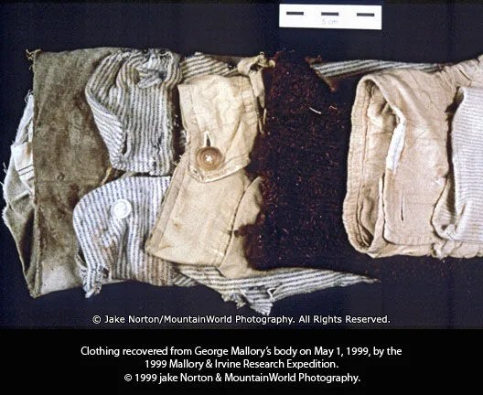 The clothing recovered from the body of George Mallory in May 1999.