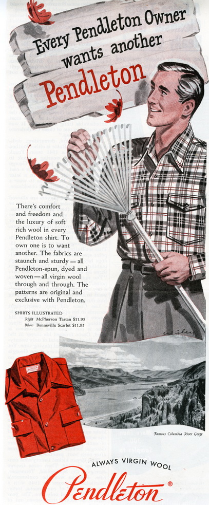 Vintage advert from 1949 for Pendleton wool shirts.