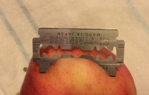 razor blade in apple