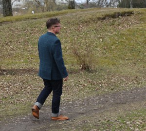Walking in the Peter Christian jacket with jeans and brogues.