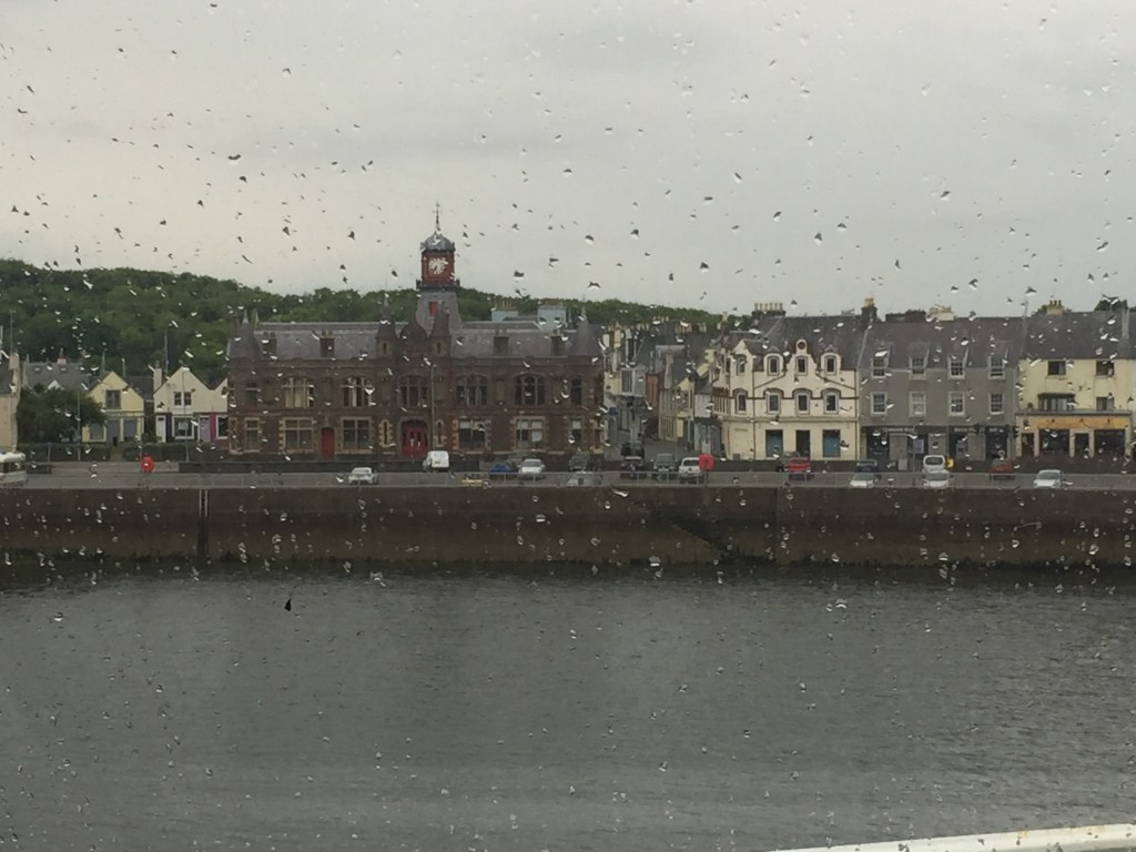 This was actually the last photo I took, as the ferry left Stornoway harbour. Through rain rain we see the Town Hall, where the Harris Tweed Authority reside.