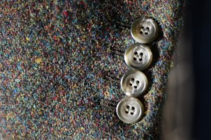Lovely detail of Harris tweed and horn buttons.