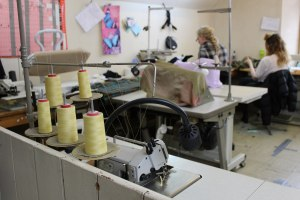 Busy at work in one of the sewing rooms.