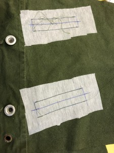 Reverse side of the welted pockets.