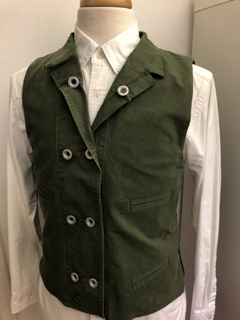 Here the waistcoat has seen all the major work done. Just final assembly required at this point, i.e. sewing the sides together.