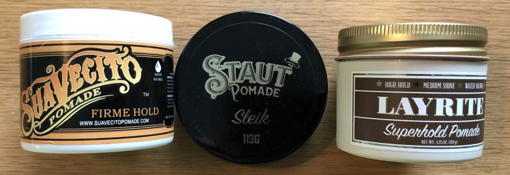 Three pomades in the current grooming rotation. The two outer ones will probably be dismissed when empty due to parabens.