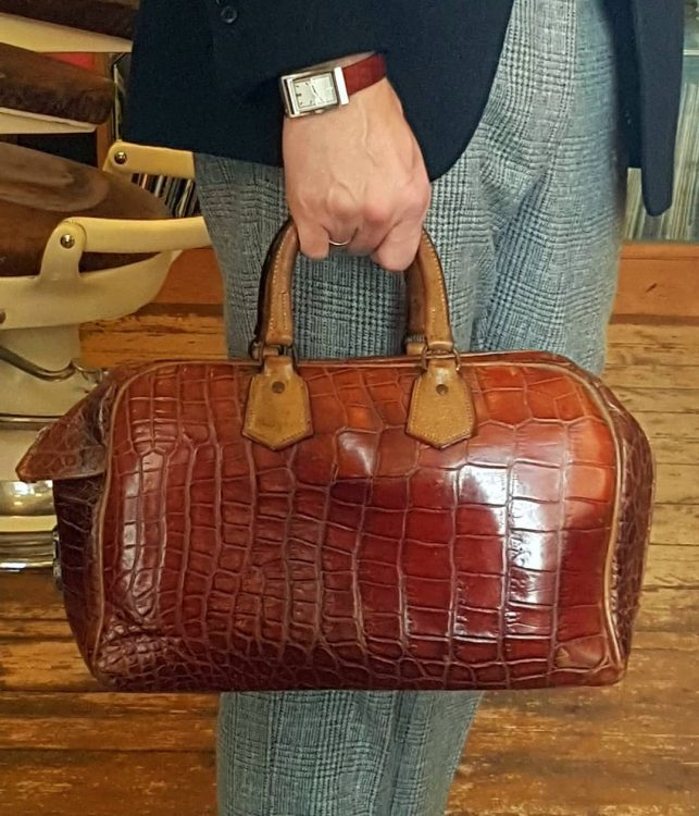 1930's crocodile skin overnight bag, perfect for carrying a change of shoes.