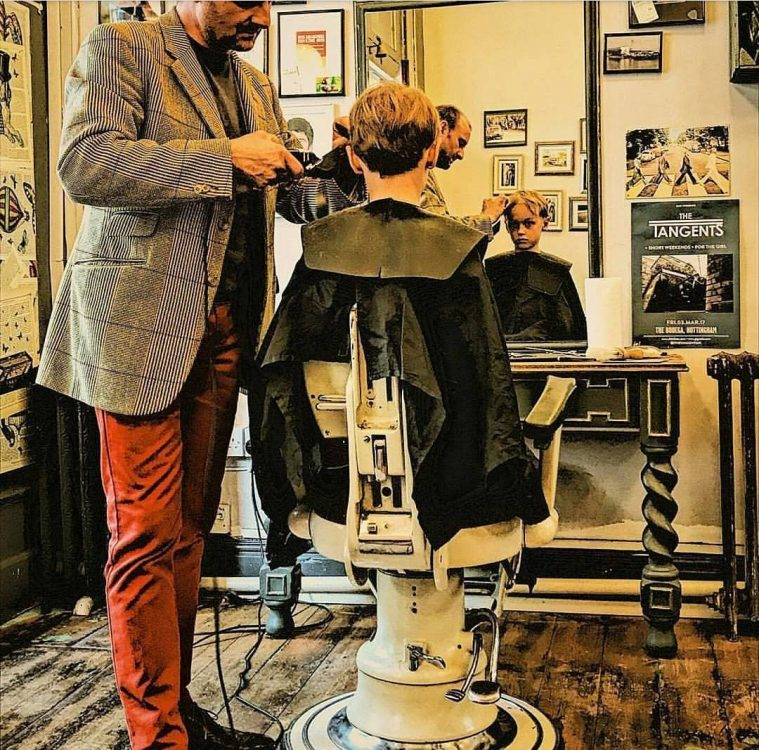 At work in Curtis & York, gentleman's barbers, in Nottingham.