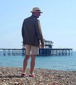 Doing the Brighton beach bum look.