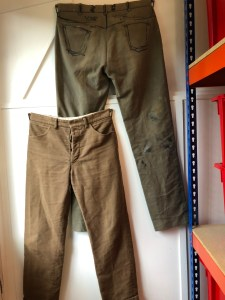 The original HebTroCo development trousers, with authentic marker pen based instructions to modifications made in the pub.