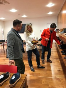 """An introduction to current Grenson products courtesy of Alison Hargreaves, head of press. Michael """"Tintinfellow"""" Hallinger had joined us for the visit."""