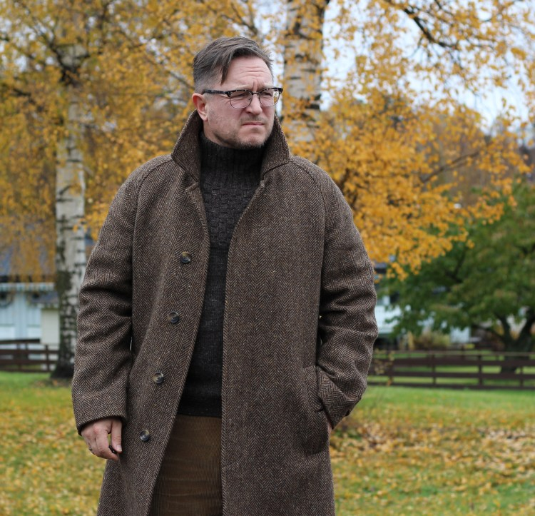 The Follifoot Donegal tweed coat from Cordings of Piccadilly.