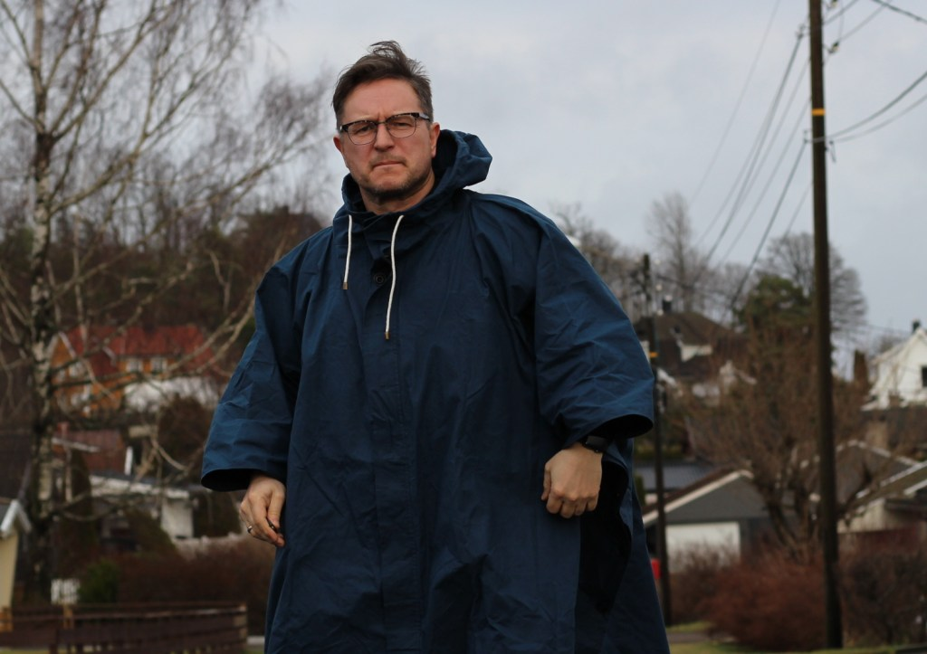 The Blackshore Coastal Clothing indigo poncho, hand made in Southwold.
