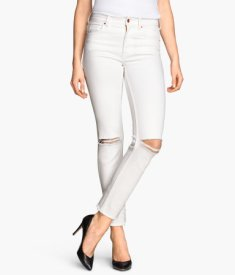 White denim is all over the place this spring, but it's been brought up a notch with the edgy, distressed look seen with these sexy skinnies. Find these Skinny Regular Ankle Jeans at H&M for $29.95. http://bit.ly/1ObMYWl