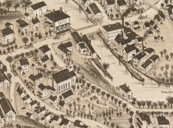 1880 Bird's-Eye View of Lower Falls (Source: O.H. Bailey & Co.)