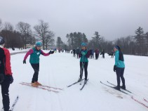 Instructing skiers at the retreat
