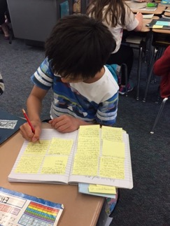 Writing notes to prepare for book club in Grade 4