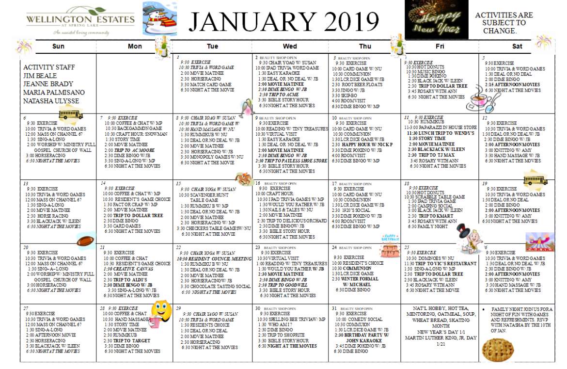 Our January 2019 Calendar And Newsletter Are Here Wellington