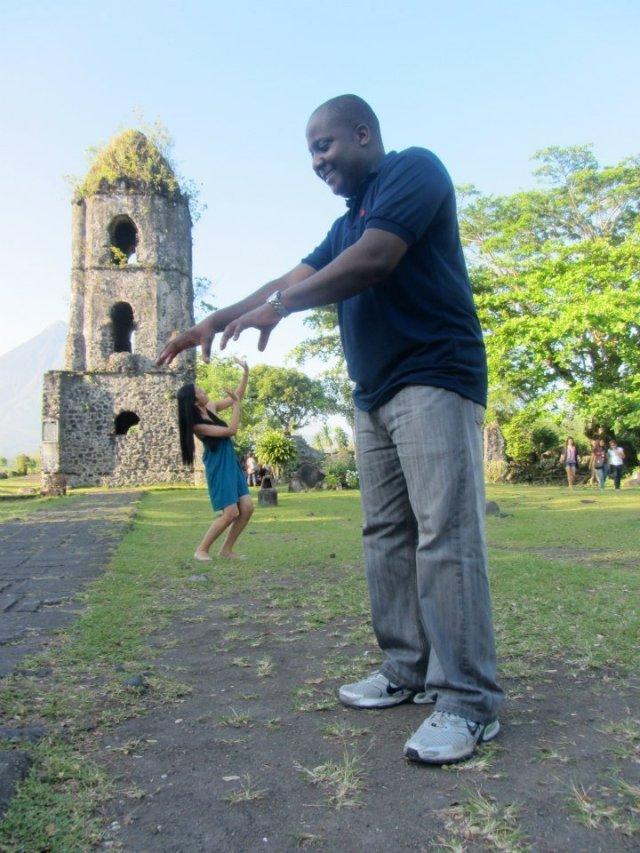 Photo Trick Shots at Cagsawa Ruins, Albay, Philippines